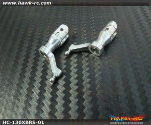 Hawk Creation CNC Main Blade Grips (Silver) For 130X