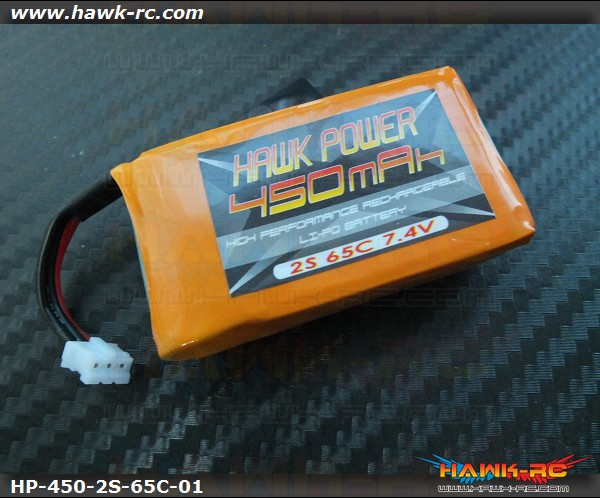 Hawk Power 2S 450mAh 65C Lipo For 130 X (Buy 3 get 1 Free)