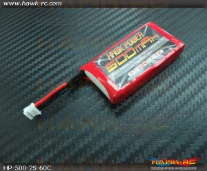 Hawk Power 2S 500mAh 60C Lipo For 130 X (Buy 3 get 1 Free)