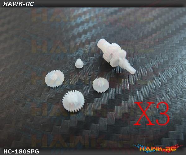 Hawk Creation Plastic Servo Gear Set Combo (3Sets) - 180CFX