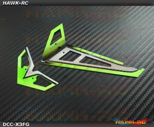DC Airbrush Carbon Fiber Fins Set Wild Green - Gaui X3