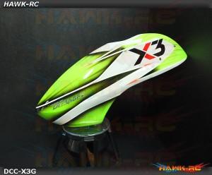 DC Airbrush Fiberglass Canopy Wild Green - Gaui X3