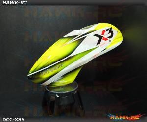 DC Airbrush Fiberglass Canopy Honey Yellow - Gaui X3