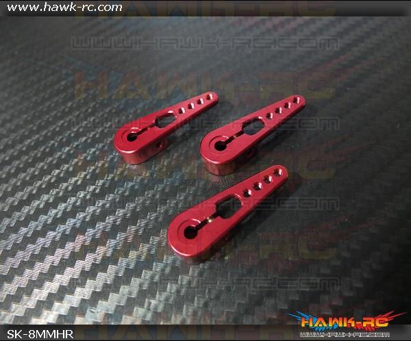 ServoKing Clamp Style Metal Servo Horn Set Red 4pcs (8mm, Compatible MKS X8)