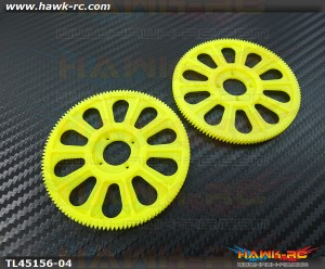 Tarot 450Pro/V2 121T Slant Thread Main Drive Gear (2pcs, Yellow)