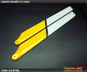 COROLIkits CF 610FBL Main Blade (Yellow-White)