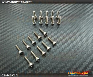 Hawk Chrome 12.9 Class M3*12 Hex Screws (20pcs)
