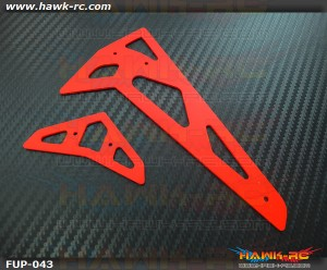 FUSUNO Neon Red Fiberglass Horl/Ver Fins Trex 500 XL 1.5mm