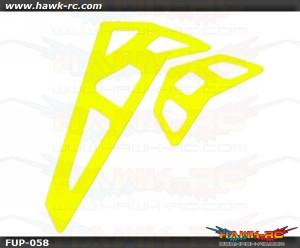 FUSUNO Neon Yellow Fiberglass Hor/Ver Fins-Trex 550E 2mm