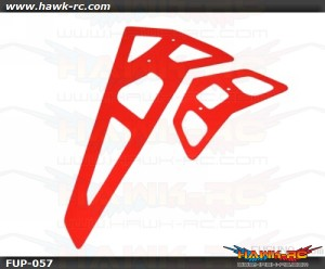 FUSUNO Neon Red Fiberglass Hor/Ver Fins-Trex 550E 2mm