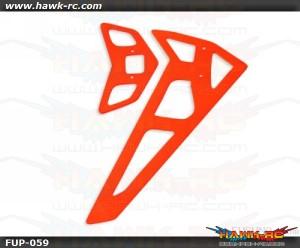 FUSUNO Neon Orange Fiberglass Hor/Ver Fins-Trex 550E 2mm