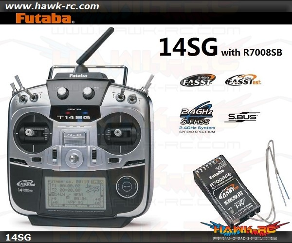 Futaba 14SG 2.4Ghz FASST 14ch Transmitter & R7008SB HV Receiver S.Bus Combo(Mode 2)