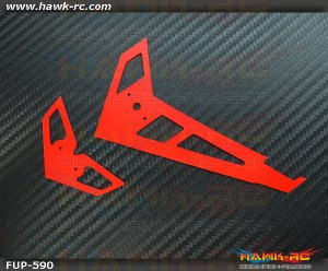 FUSUNO Neon Red Fiberglass Hor/Ver Fin Compatible With Gaui X3