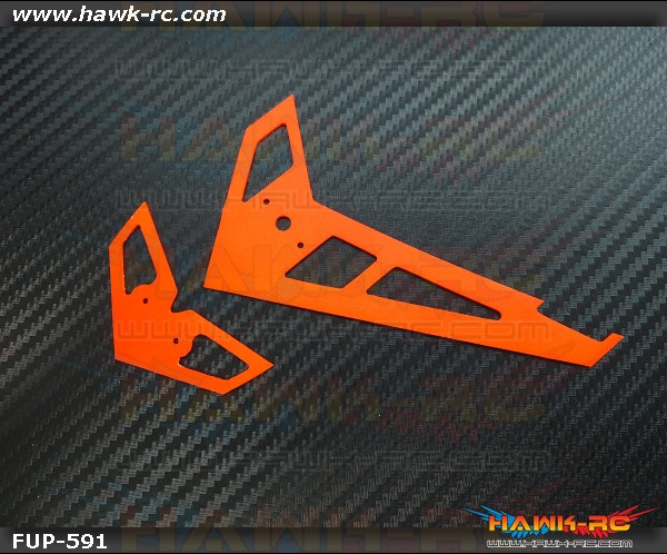 FUSUNO Neon Orange Fiberglass Hor/Ver Fin Compatible With Gaui X3