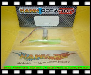 Hawk Creation 7mm Tail Motor V2 + KBDD Rotor (Neon Lime) For mCPX