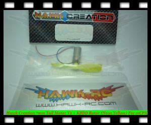 Hawk Creation 7mm Tail Motor V2 + KBDD Rotor (Neon Yellow) For mCPX