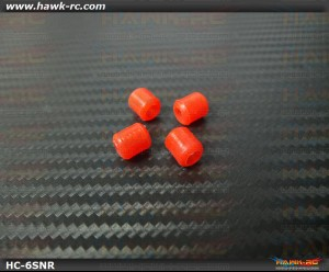Hawk Creation Landing skid Rubber Nut (Red 6mmΦ, 4pcs)