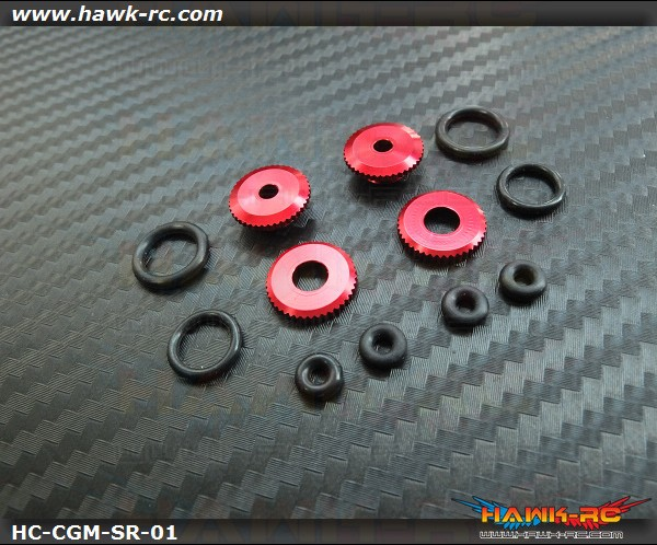 Hawk Creation 450~500 Matel Canopy Rubber Grommet Mount Set (Red)
