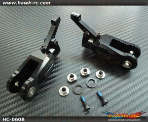 Hawk Creation LOGO 600/SE Metal Main Rotor Grips (Black)
