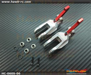 Hawk Creation LOGO 600/SE Metal Main Rotor Grips (Silver, Red Arm)