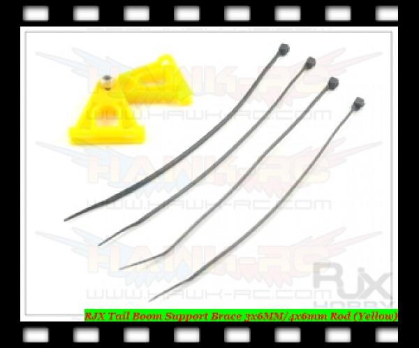 RJX Tail Boom Support Brace 3x6MM/4x6mm Rod (Yellow)