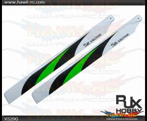 RJX  Vector  Green 520mm Premium CF Blades-FBL Version
