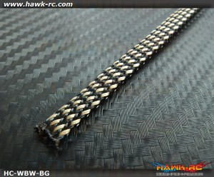 Hawk Creation Servo Wire Braided Sleeving Wrap 6mm/2M (Black/Gold)