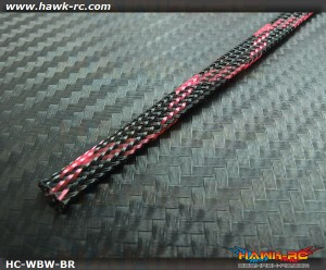 Hawk Creation Servo Wire Braided Sleeving Wrap 6mm/2M (Black/Red)