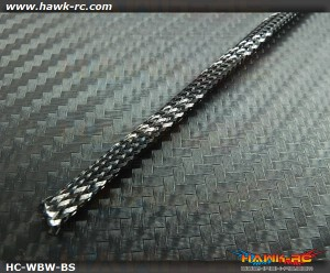 Hawk Creation Servo Wire Braided Sleeving Wrap 6mm/2M (Black/Silver)