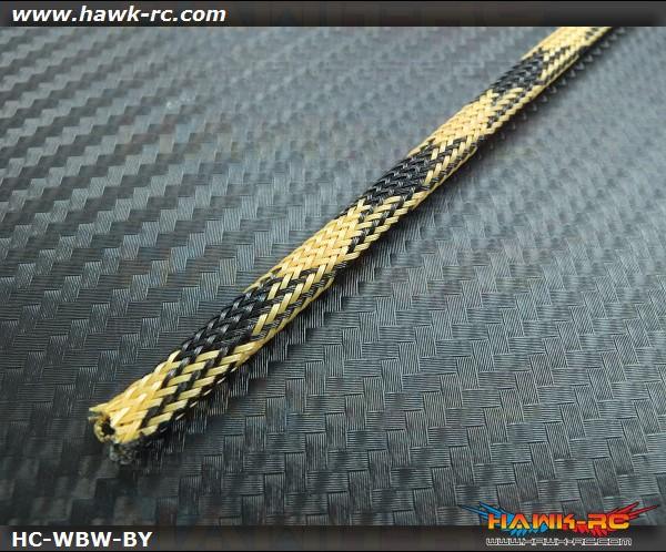Hawk Creation Servo Wire Braided Sleeving Wrap 6mm/2M (Black/Yellow)