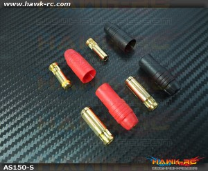 Amass AS150 7mm Anti Spark Connector (Red 1 Set, Black 1Set)