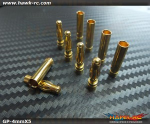 High Quality Gold Plated Banana Plug Connector 4mm x 5 Pairs