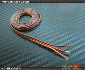 22AWG High Quality Silicon Servo Wire (60 Core, O/R/B, 1m)