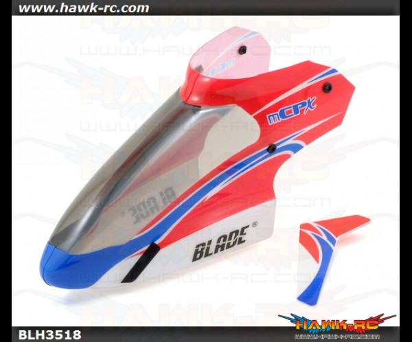 E-Flite mCP X/V2 Complete Red Canopy with Vertical Fin