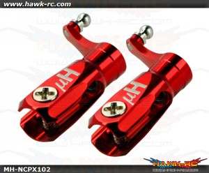 MicroHeli Aluminum Triple Bearing Main Blade Grip (RED) - Nano CP X